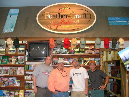 Brent McClane and Matt Tucker at Feather-Craft Fly Shop before the 2004 Fly Rod & Real Trout Bum Tournament.