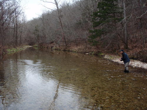Brian Wise is seen fishing a section of Mill Creek.